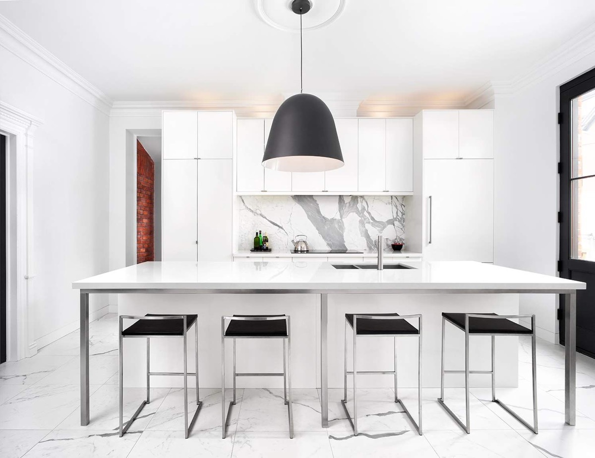 minimalist white kitchen set