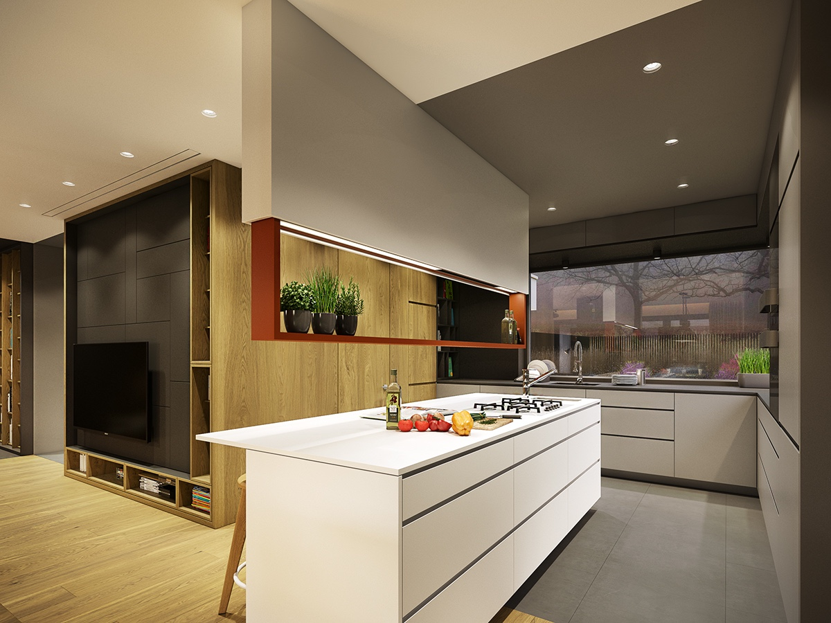 gray modern kitchen design