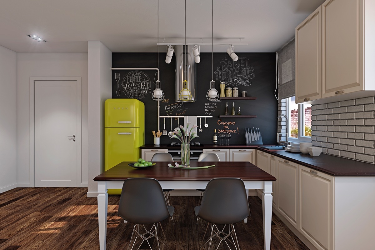 small modern kitchen set room