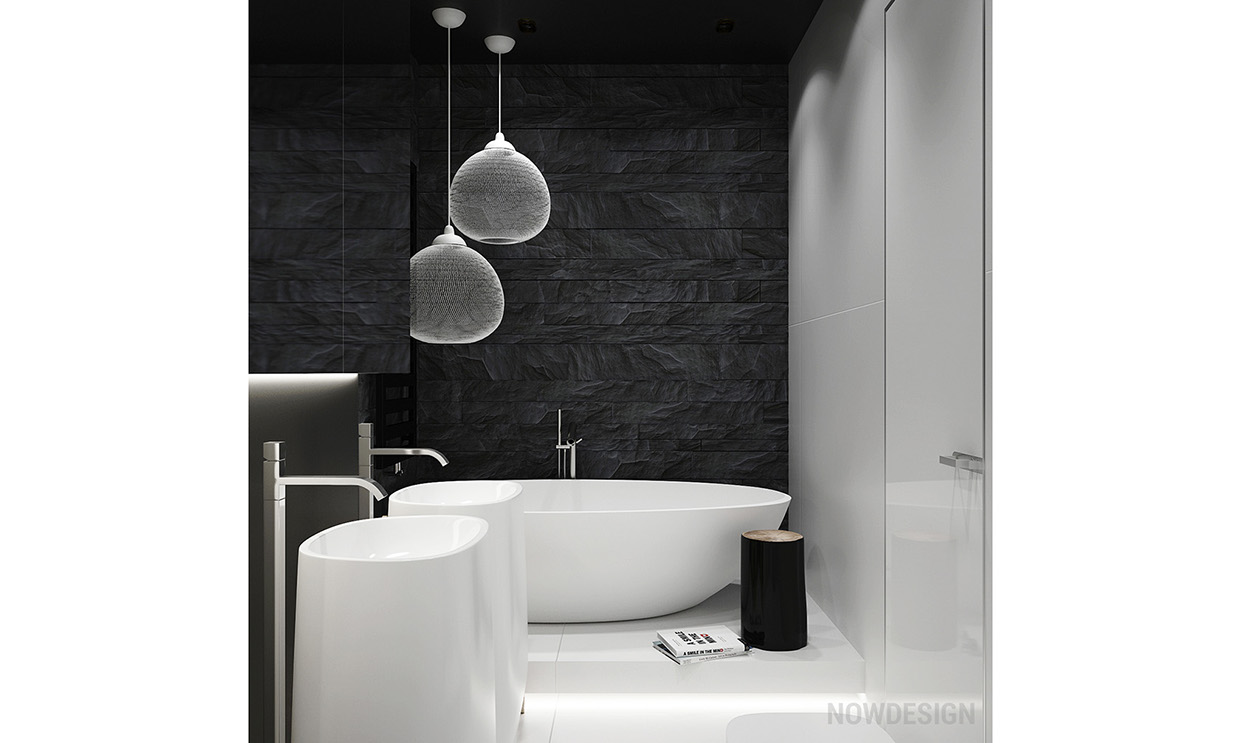 Applying a trendy bathroom designs which arranged with a for Trendy bathroom ideas
