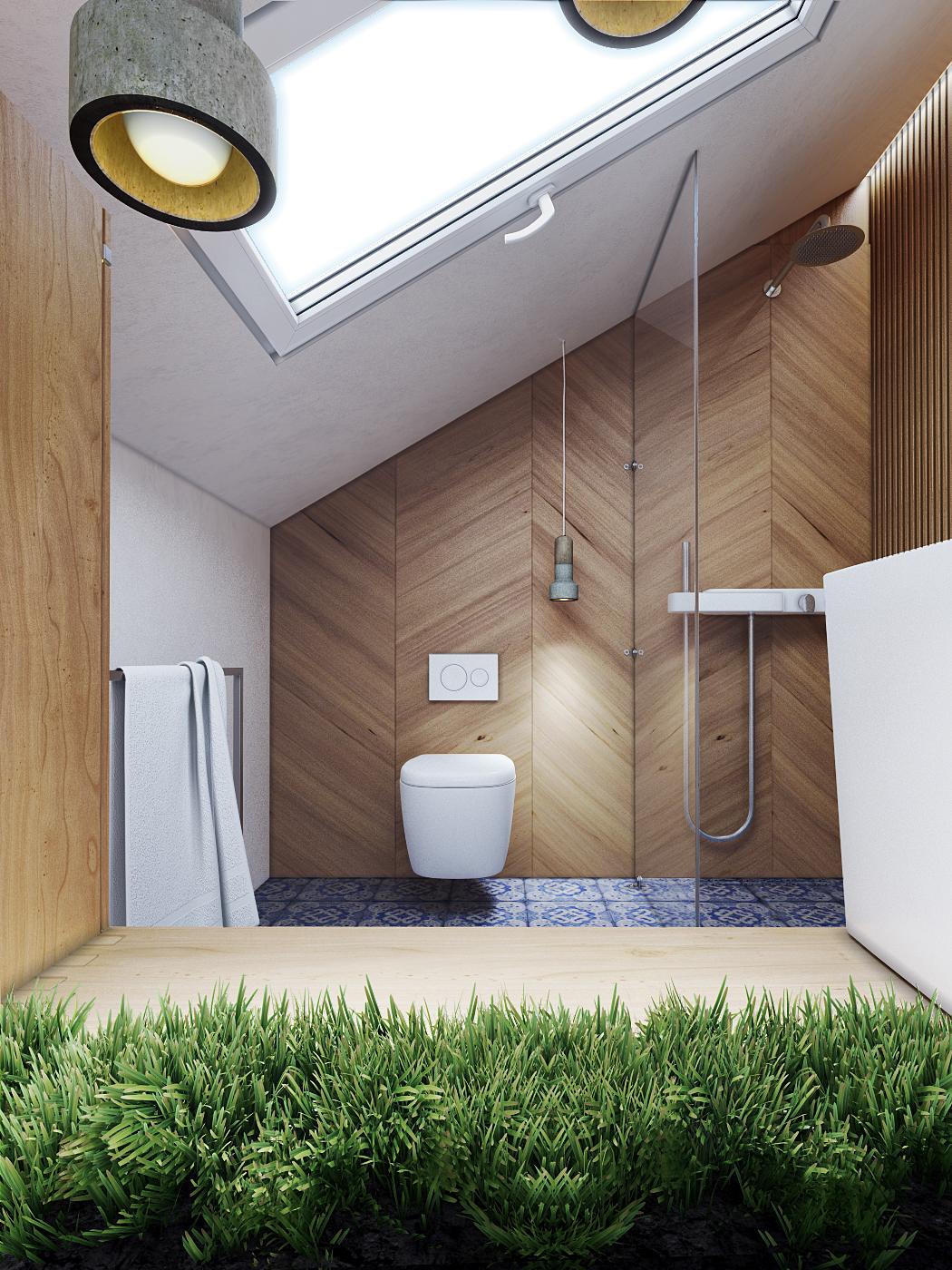 white wooden bathroom design
