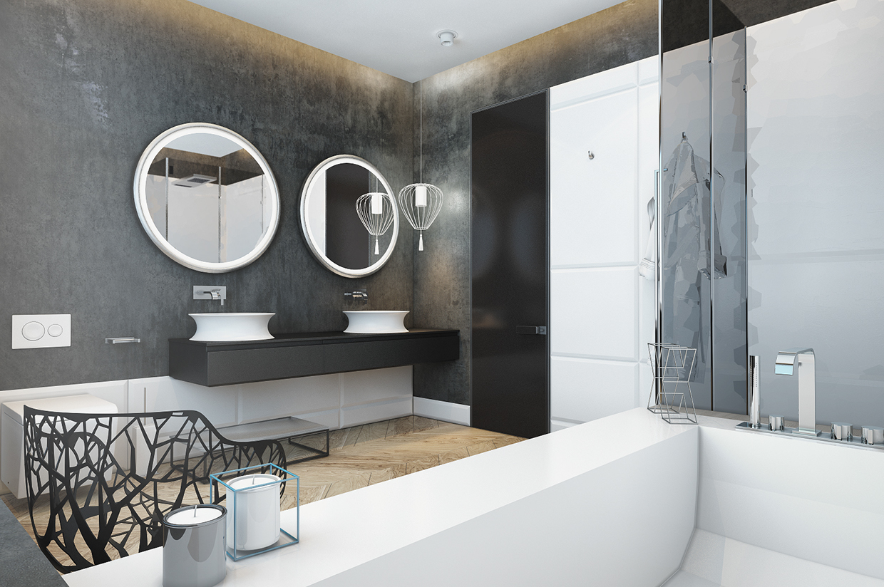 modern white and gray bathroom