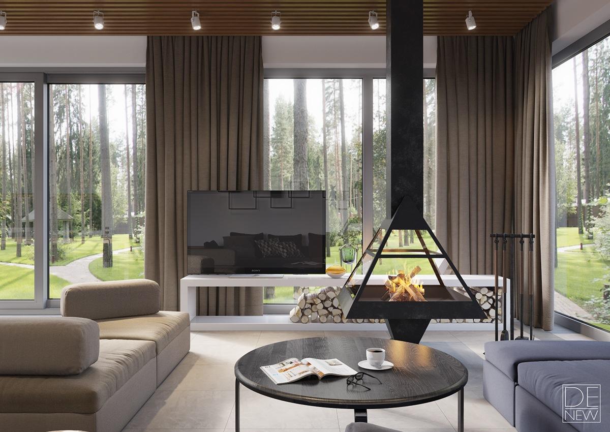 soft color living room design