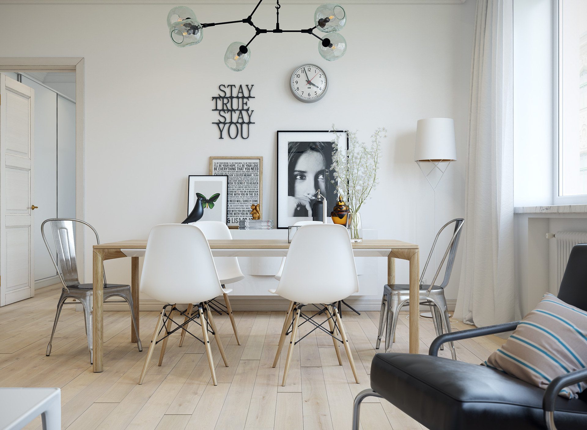 scandinavian white dining room