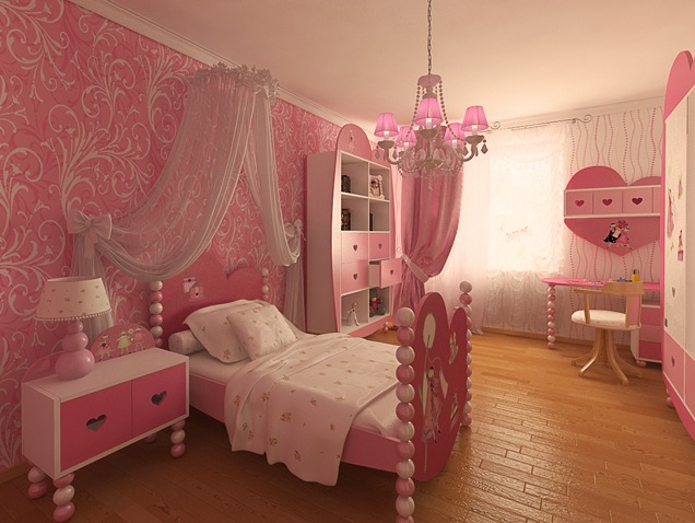 pinky girls room design