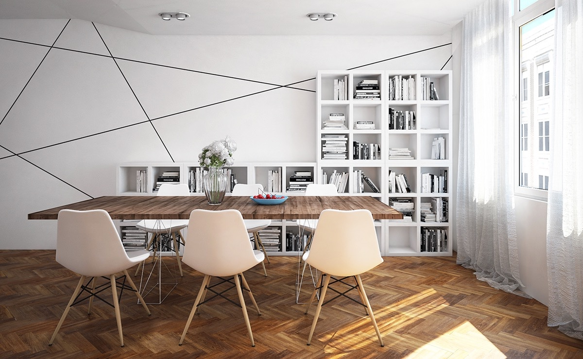 white minimalist dining room decor
