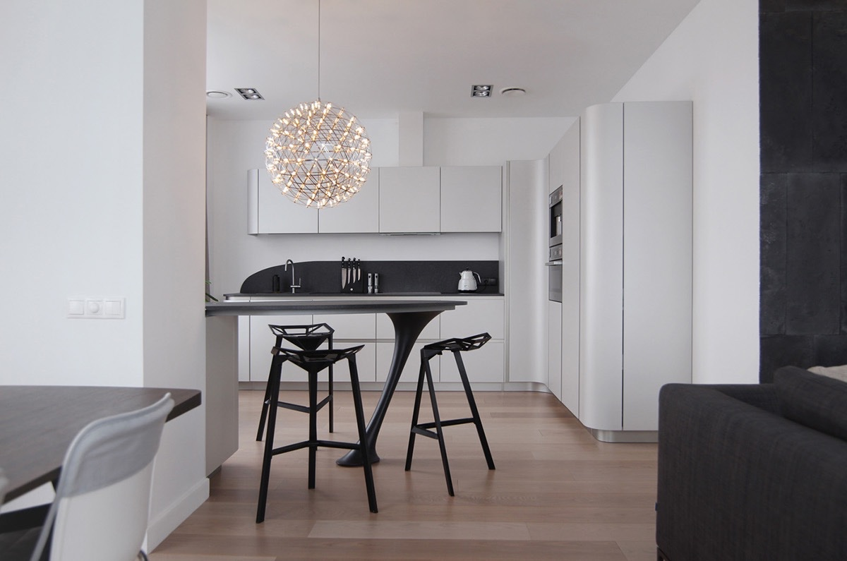 modern black and white dining
