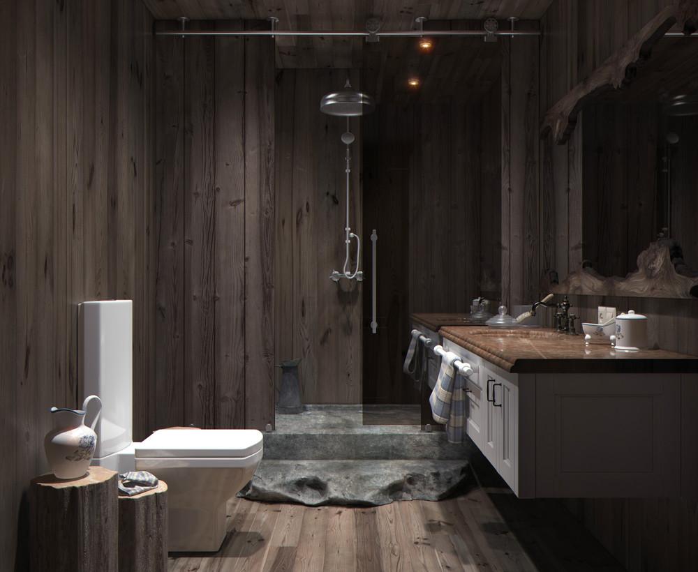 wood panel bathroom design