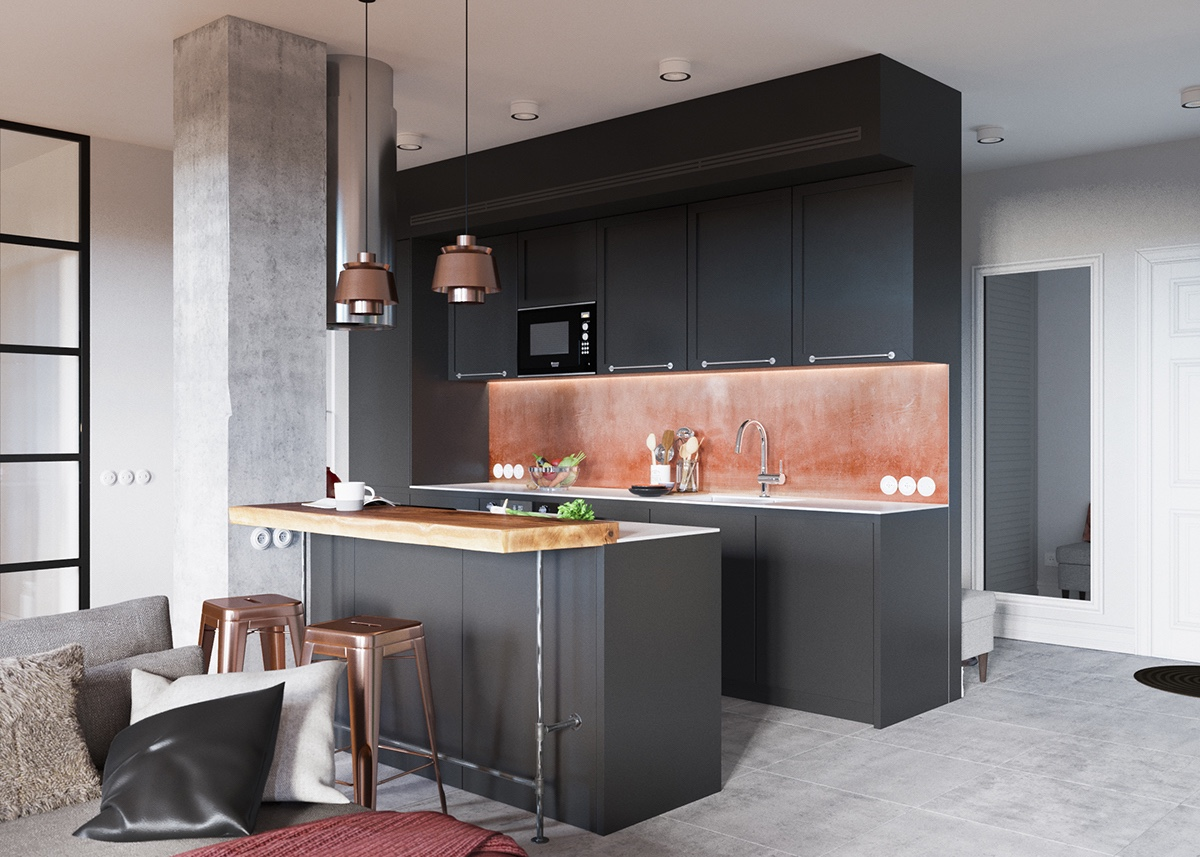 minimalist gray kitchen decor