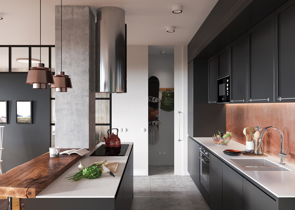 Minimalist Studio Apartment Design Applied With A Gray And Wooden Decor Ideas Which Very