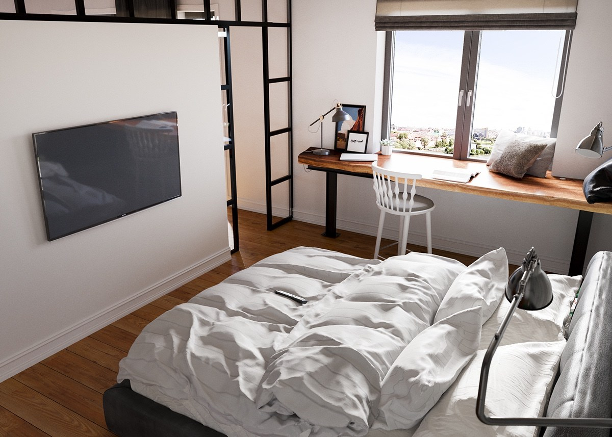 Bedroom Design Inspiration Decoration Ideas: Minimalist Studio Apartment Design Applied With A Gray And
