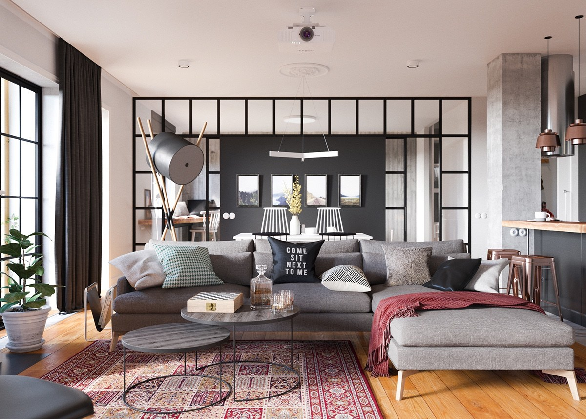 Minimalist studio apartment design applied with a gray and wooden decor ideas which very for Living room decor ideas apartment