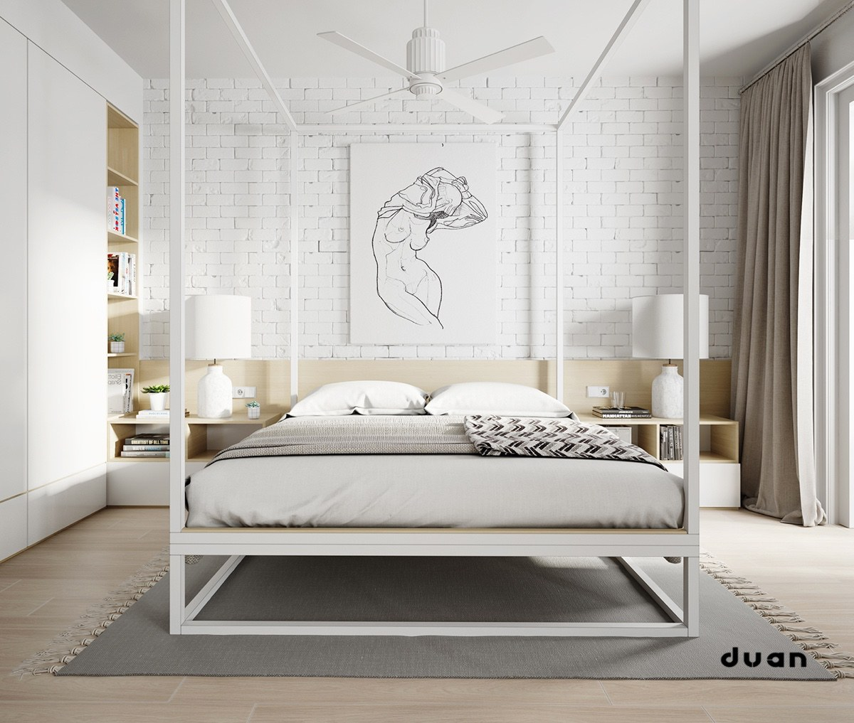 gorgeous white bedroom with headboards