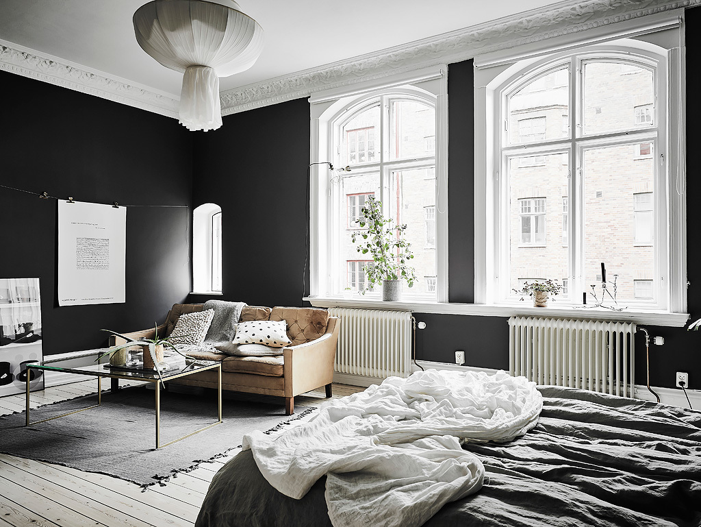 scandiavian monochrome living room