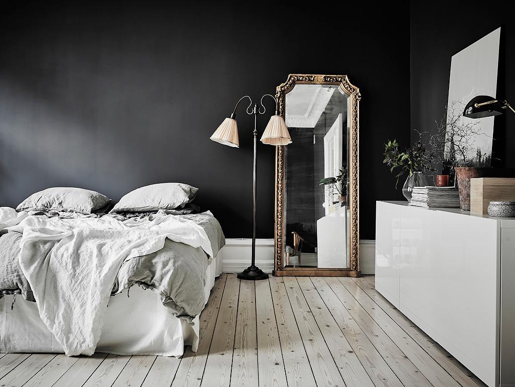 Entrance Black And White Scandinavian Bedroom