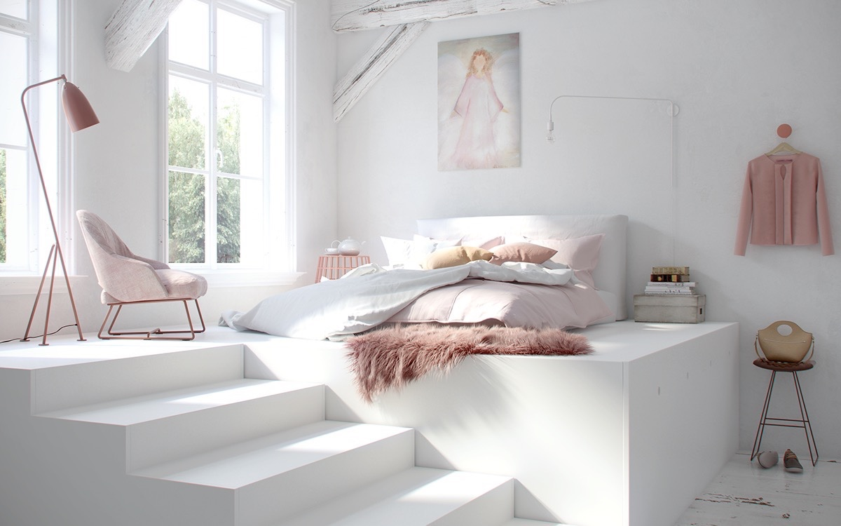 minimalist white girl bedroom