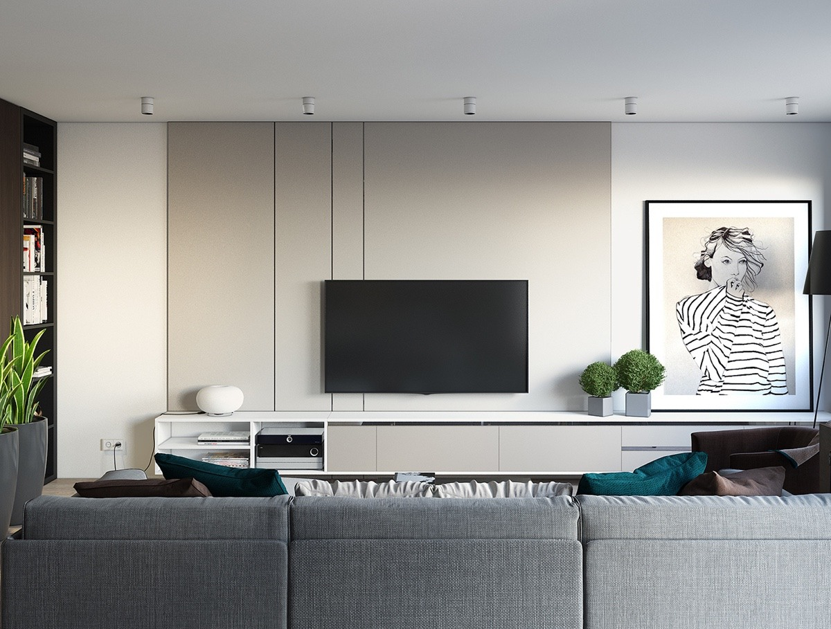 gray minimalist living room
