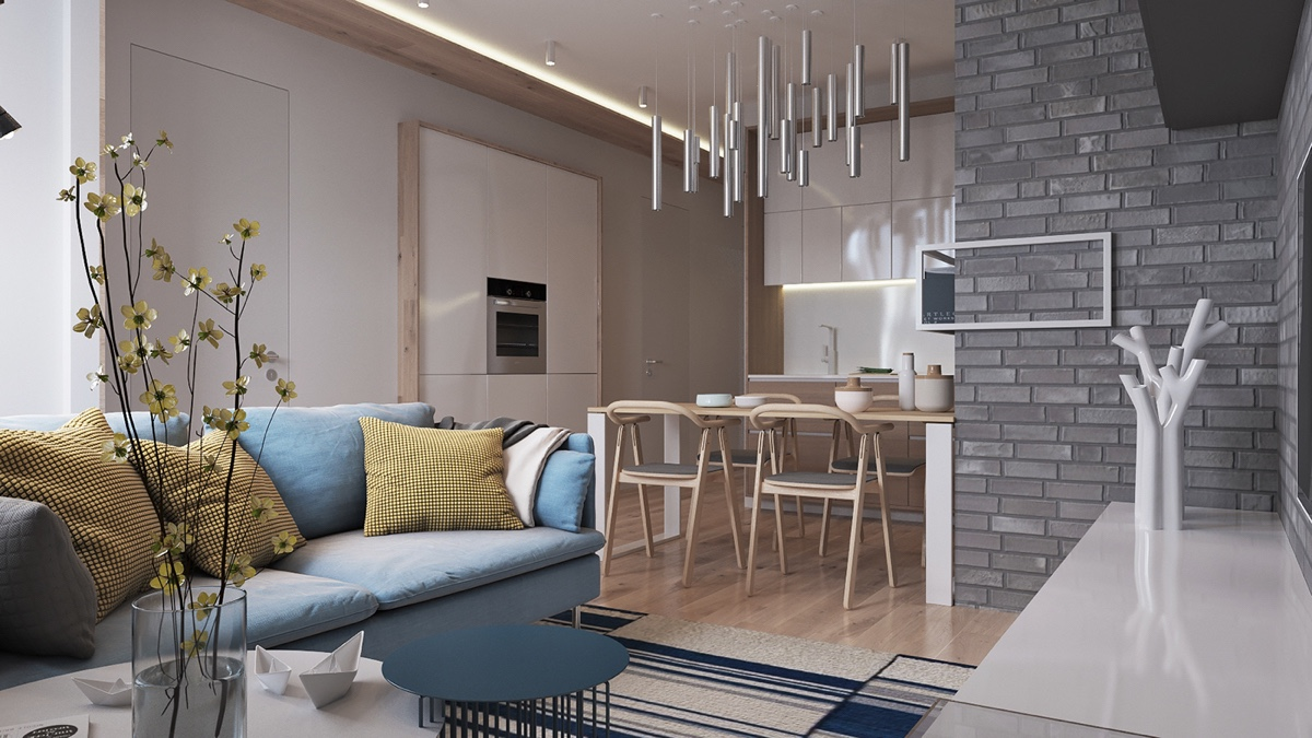 Contemporary Home Design Exposed Brick Pads And Muted Pastel Tone Color Bring Out Luxurious Feel