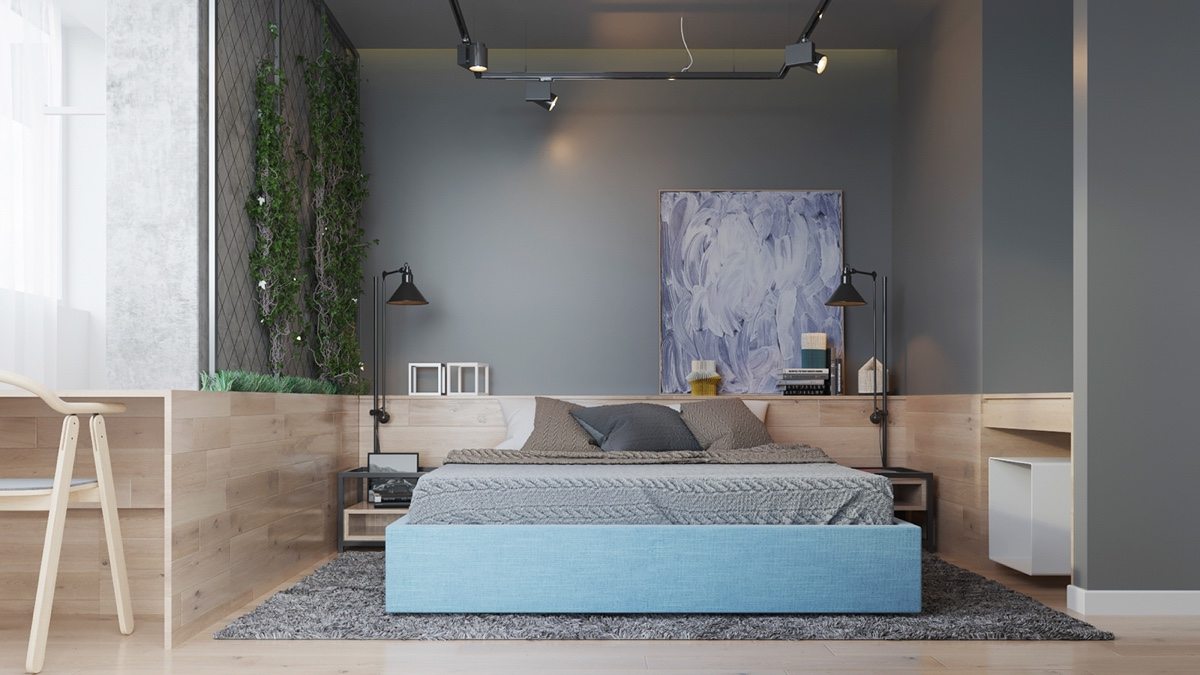contemporary gray bedroom decor