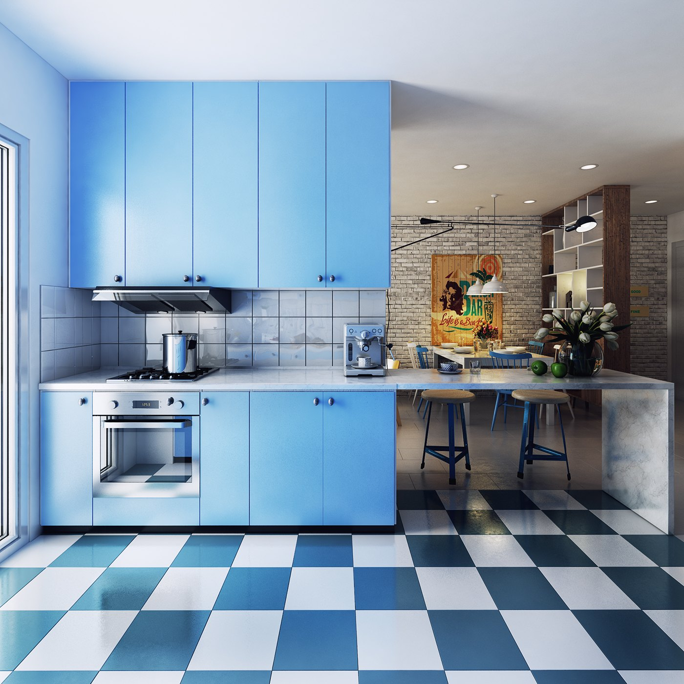 blue accent kitchen design
