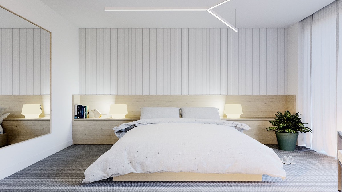 white minimalist bedroom design