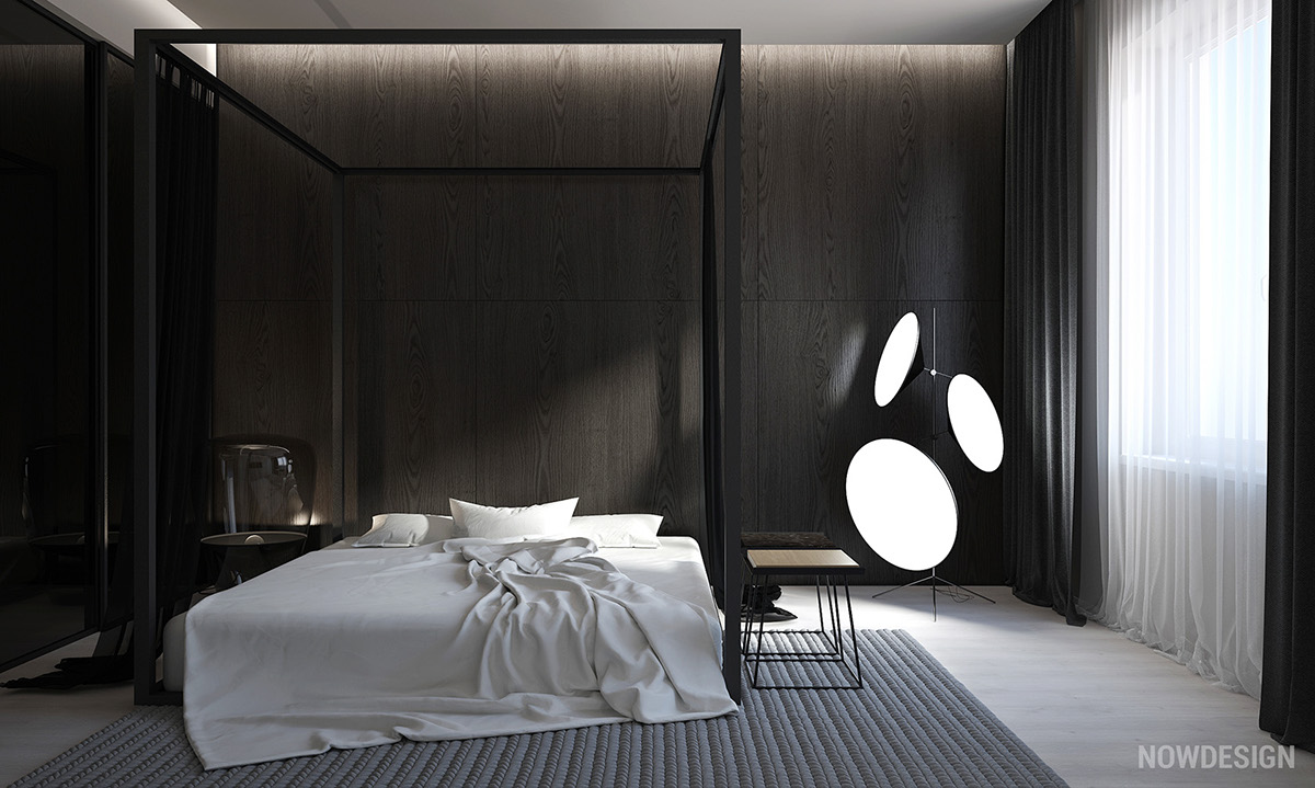 monochrome bedroom design
