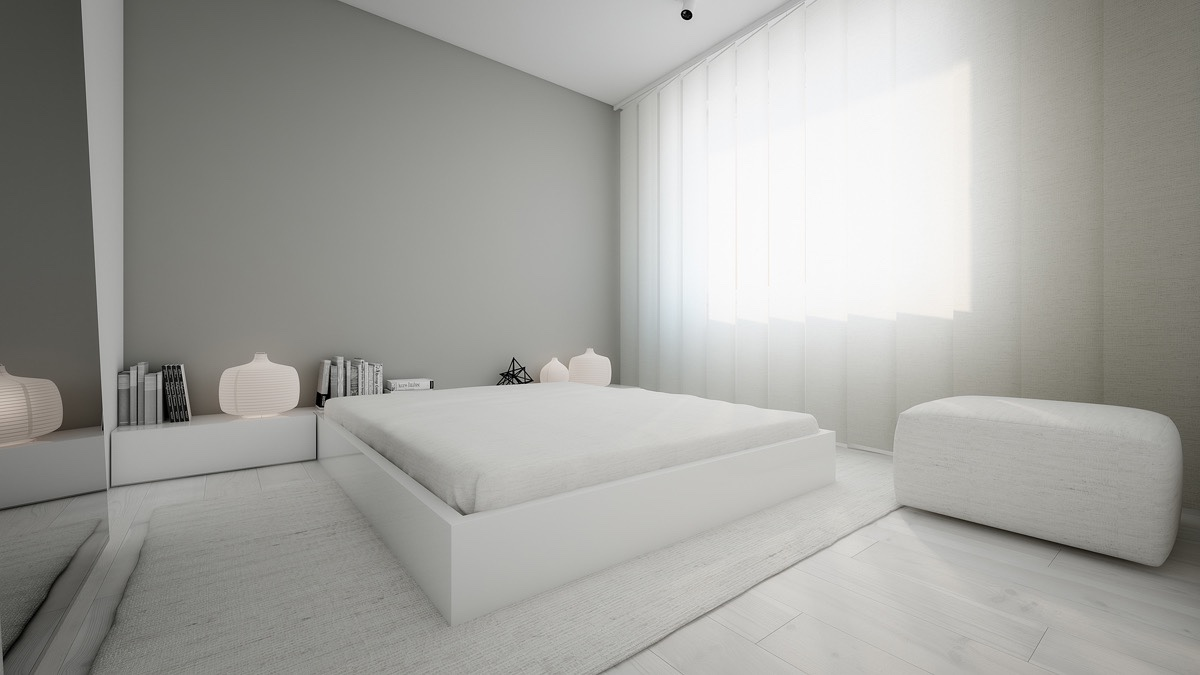 spacious white bedroom design