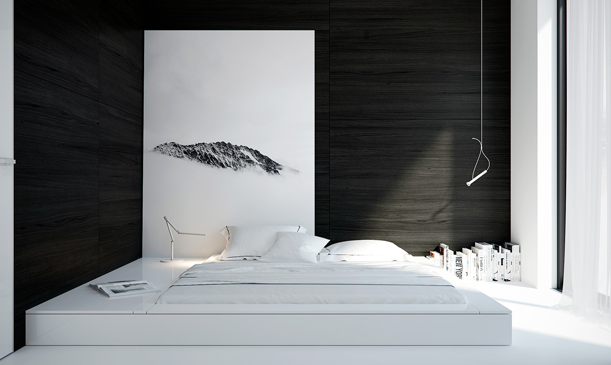 minimalist black and white bedroom