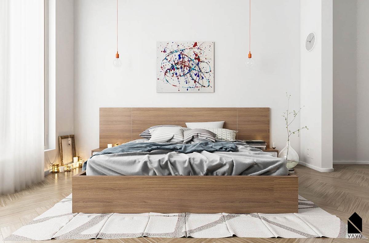white wooden bedroom design