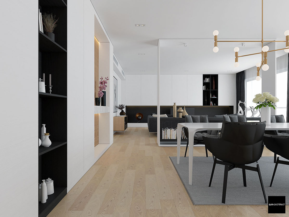 Modern Dark Living Room Design Combine With Wooden Accents