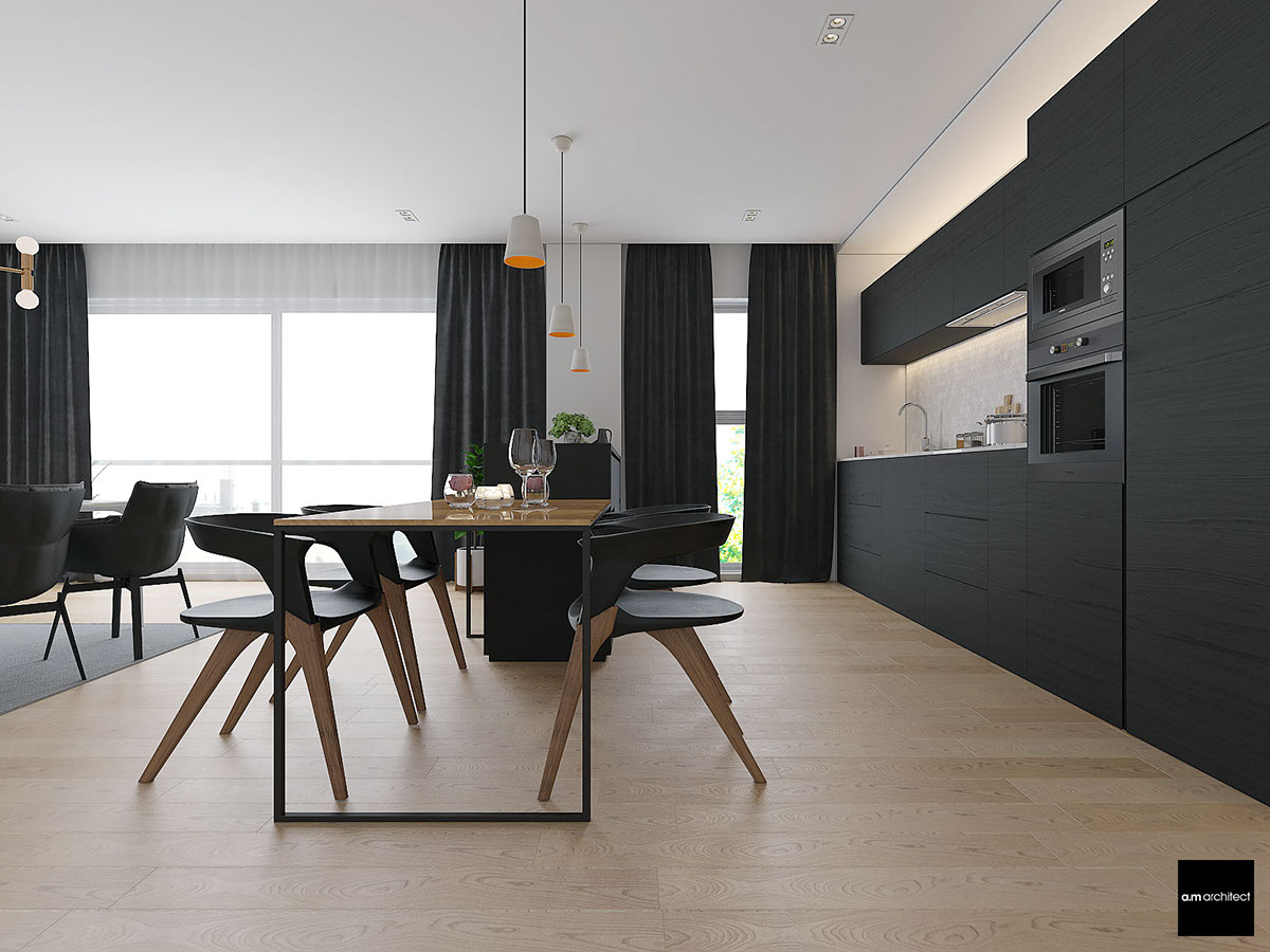 dark minimalist dining room