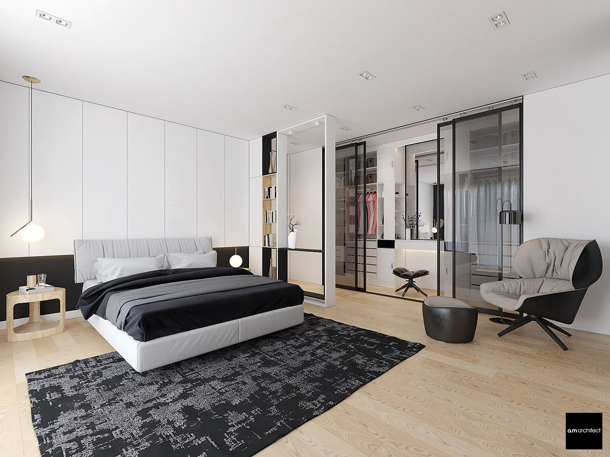gray and white bedroom design