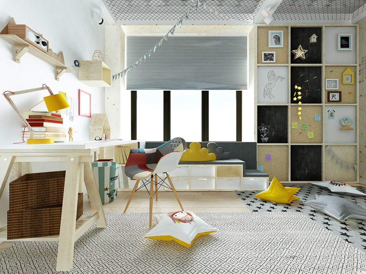 kids room full of playful decor