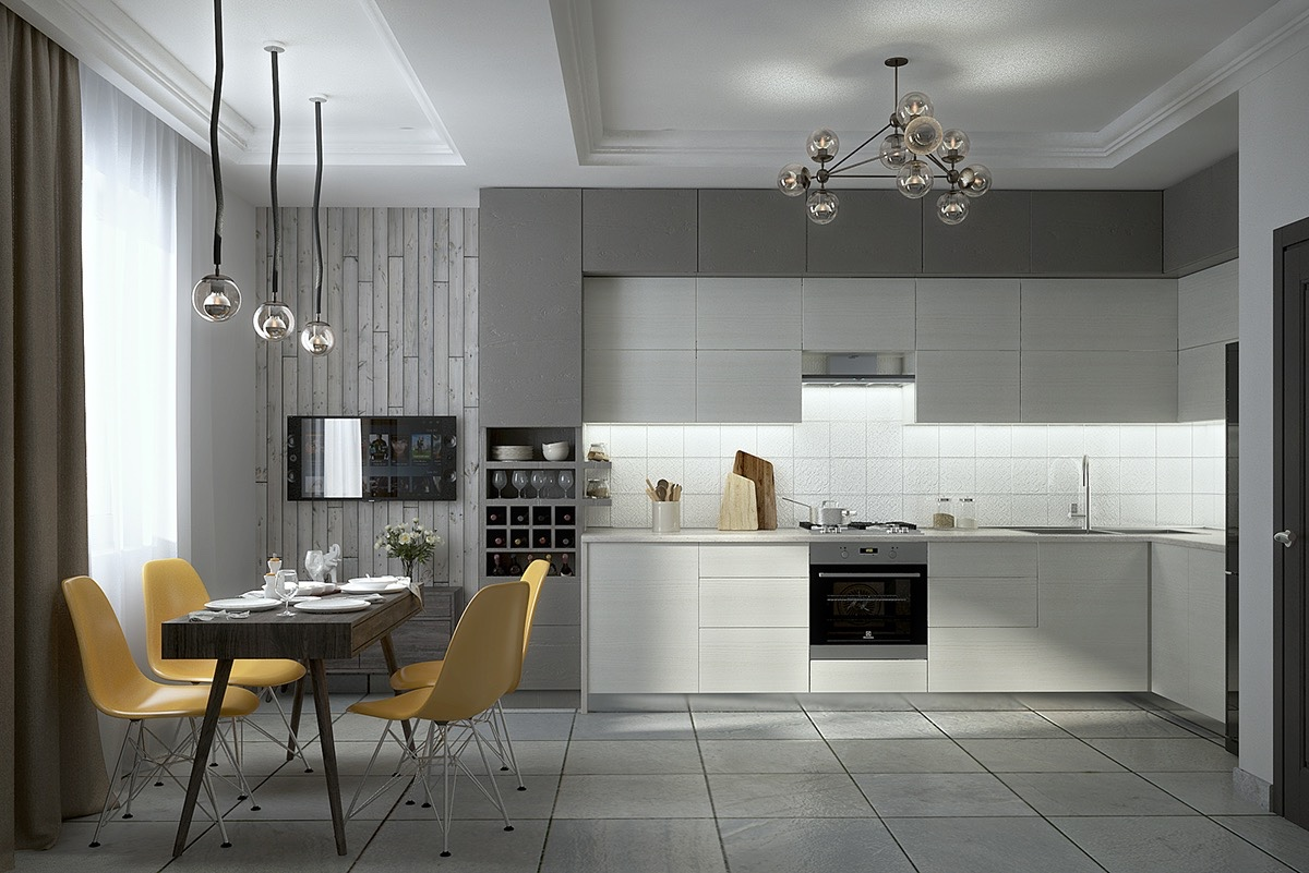 contemporary white kitchen set decor