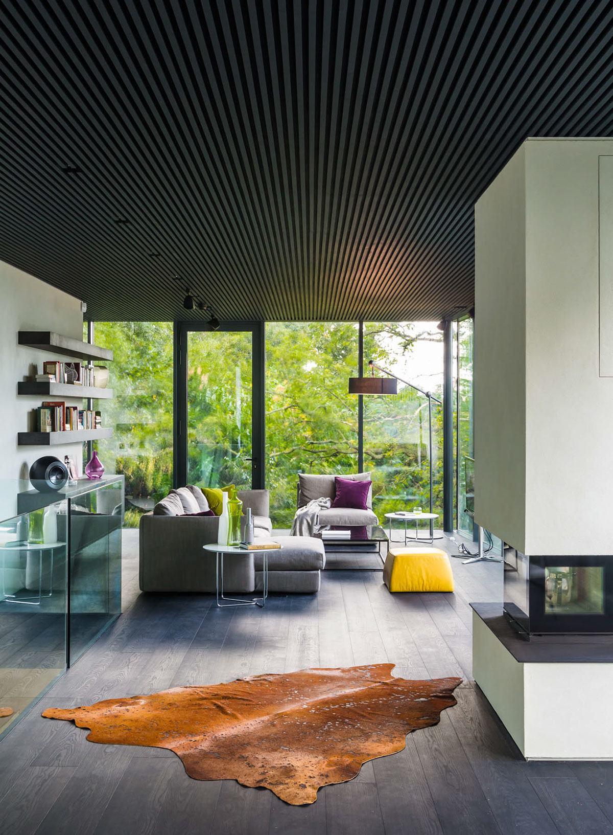 modern white living room green house
