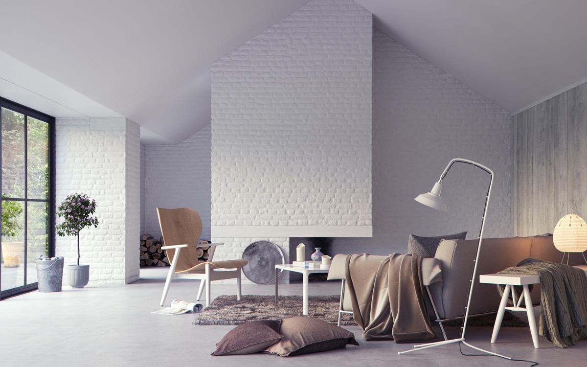 trendy brick wall accent decor