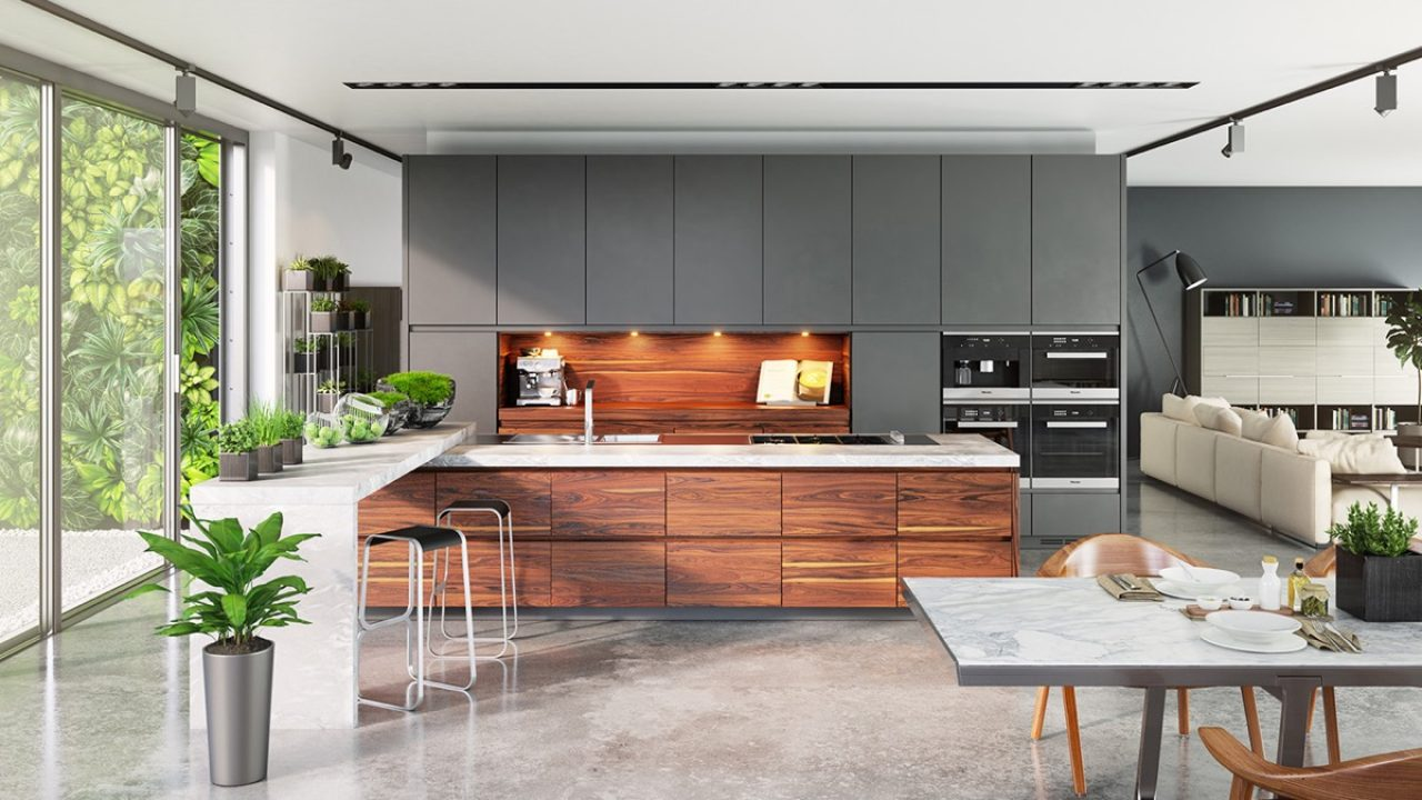 Contemporary Kitchen Set Designs Includes A Luxury And Modern Interior