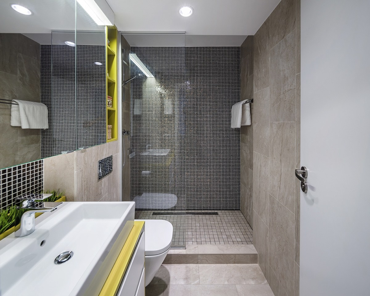 gray and yellow bathroom design