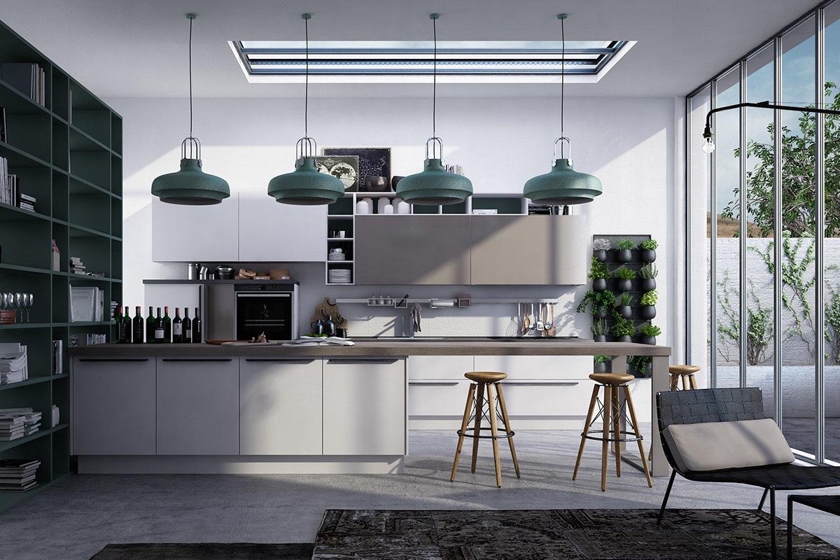 spacious gray kitchen design