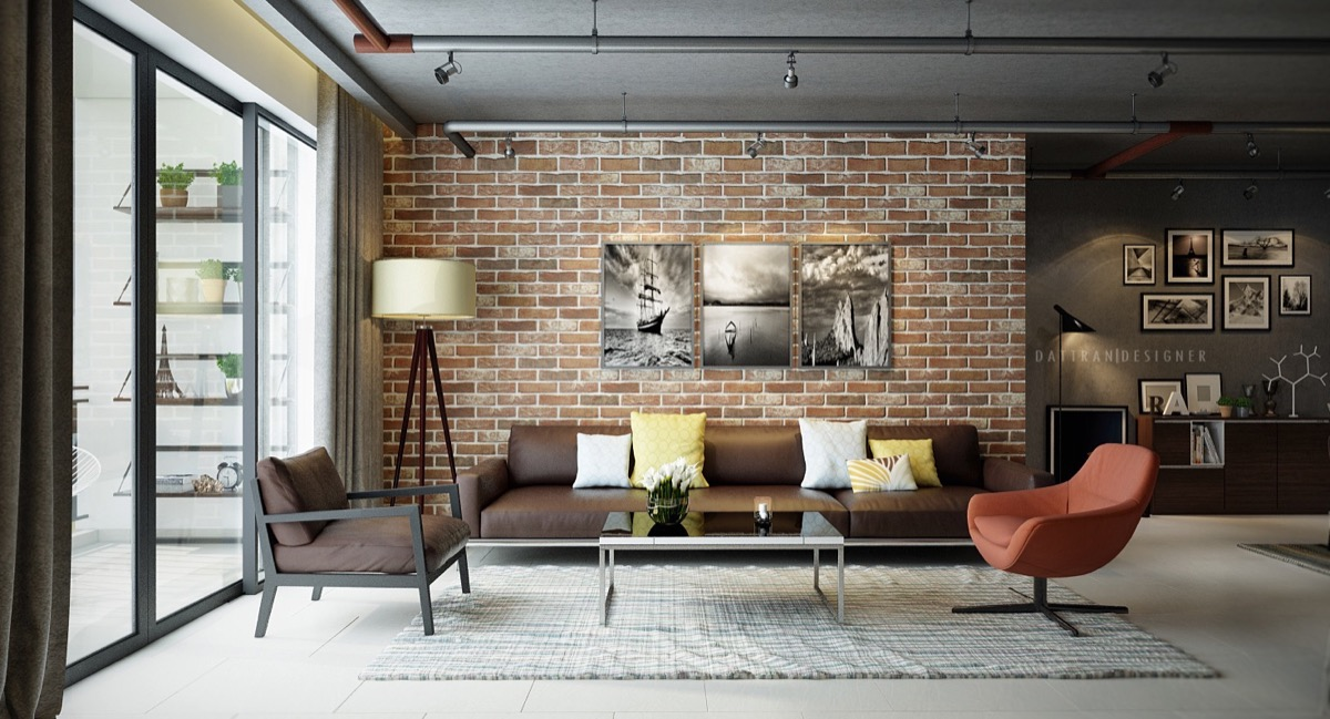 brick wall living room design
