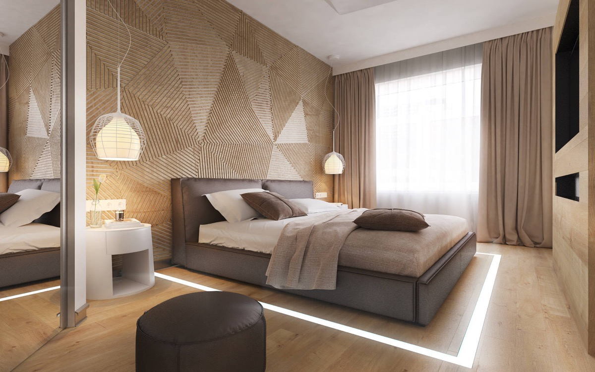 contemporary brown bedroom design. bedroom designs which use slats for accent wall decor ideas