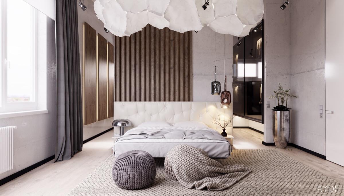 contemporary slats wall bedroom