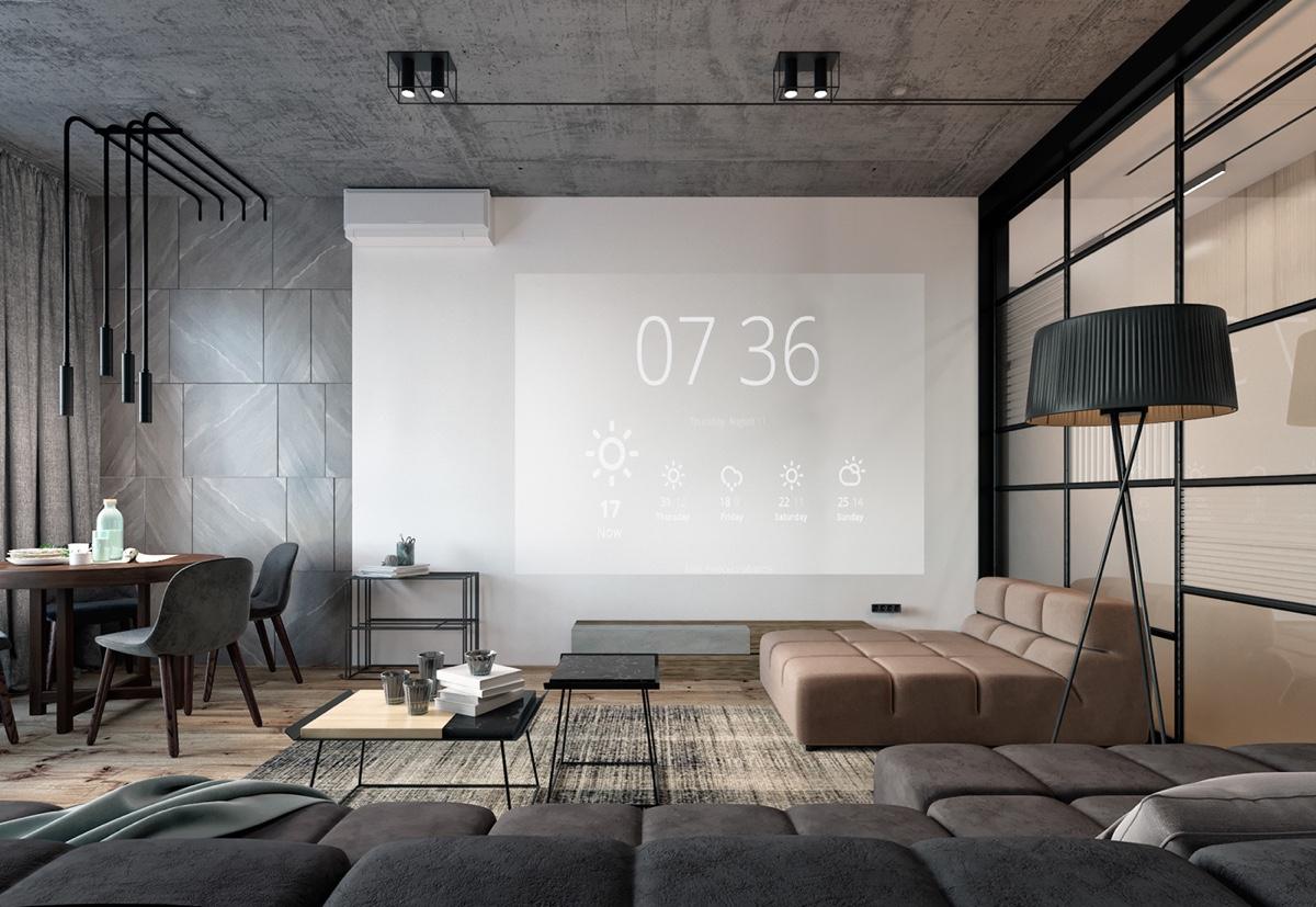 open plan gray modern living room
