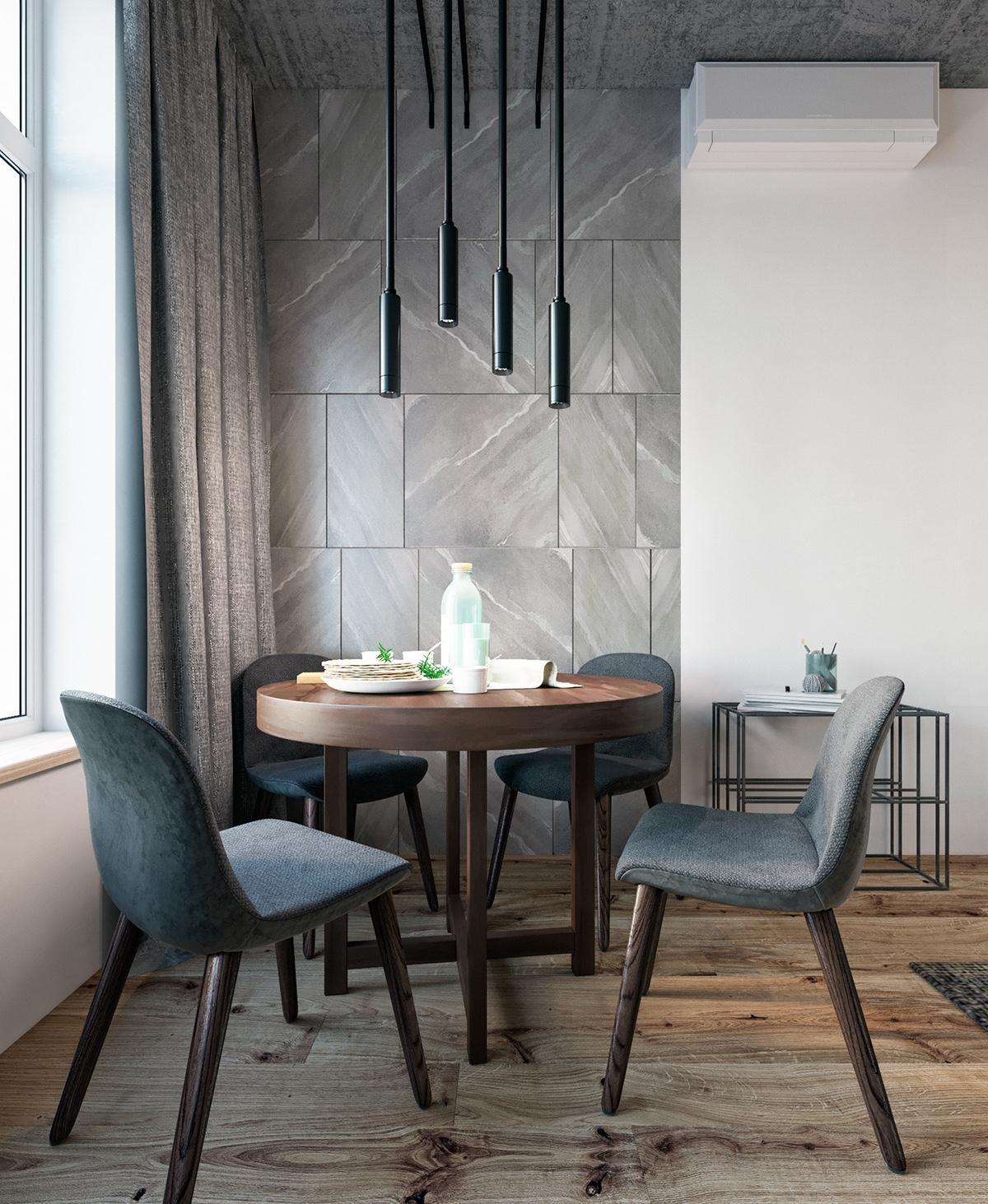 modern gray dining room design
