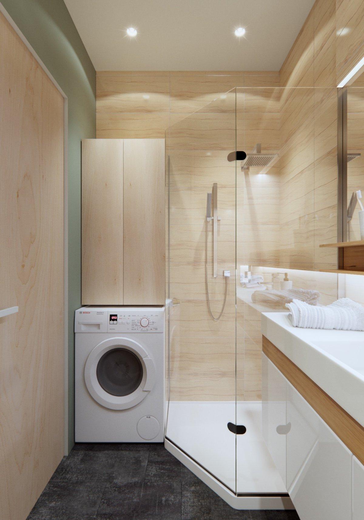 simple small wooden bathroom