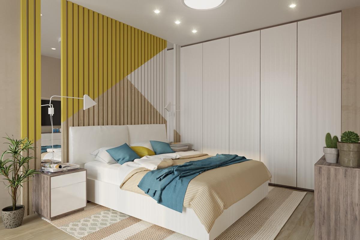 white and yellow slats wall
