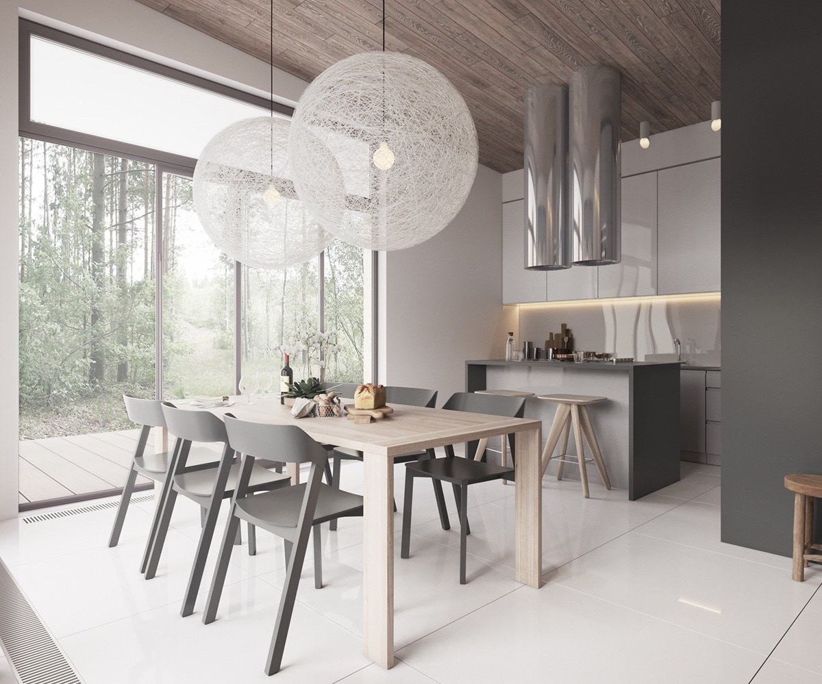minimalist gray kitchen set design