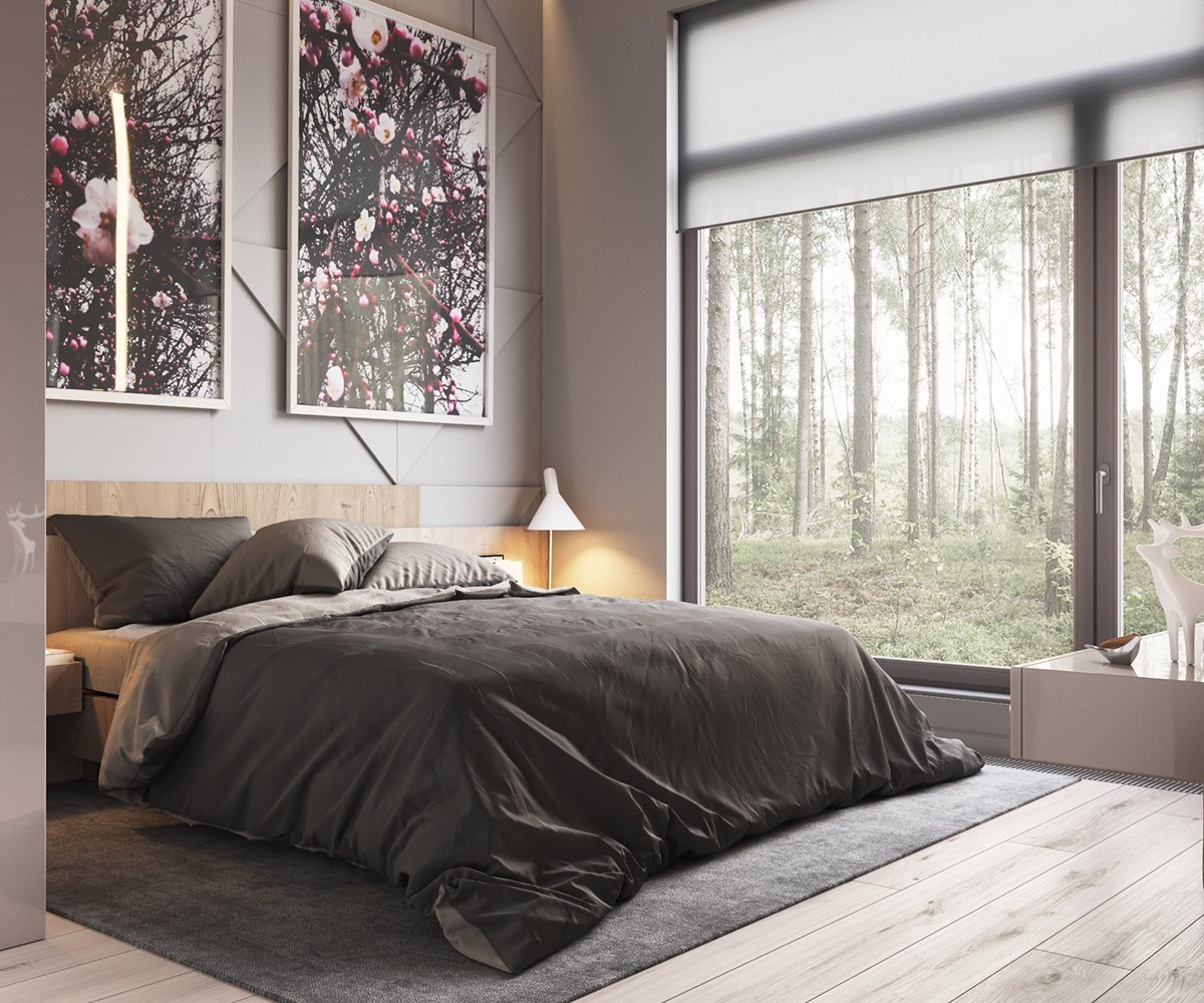 minimalist gray bedroom deco