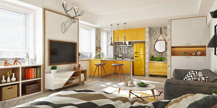 white and yellow Scandinavian interior