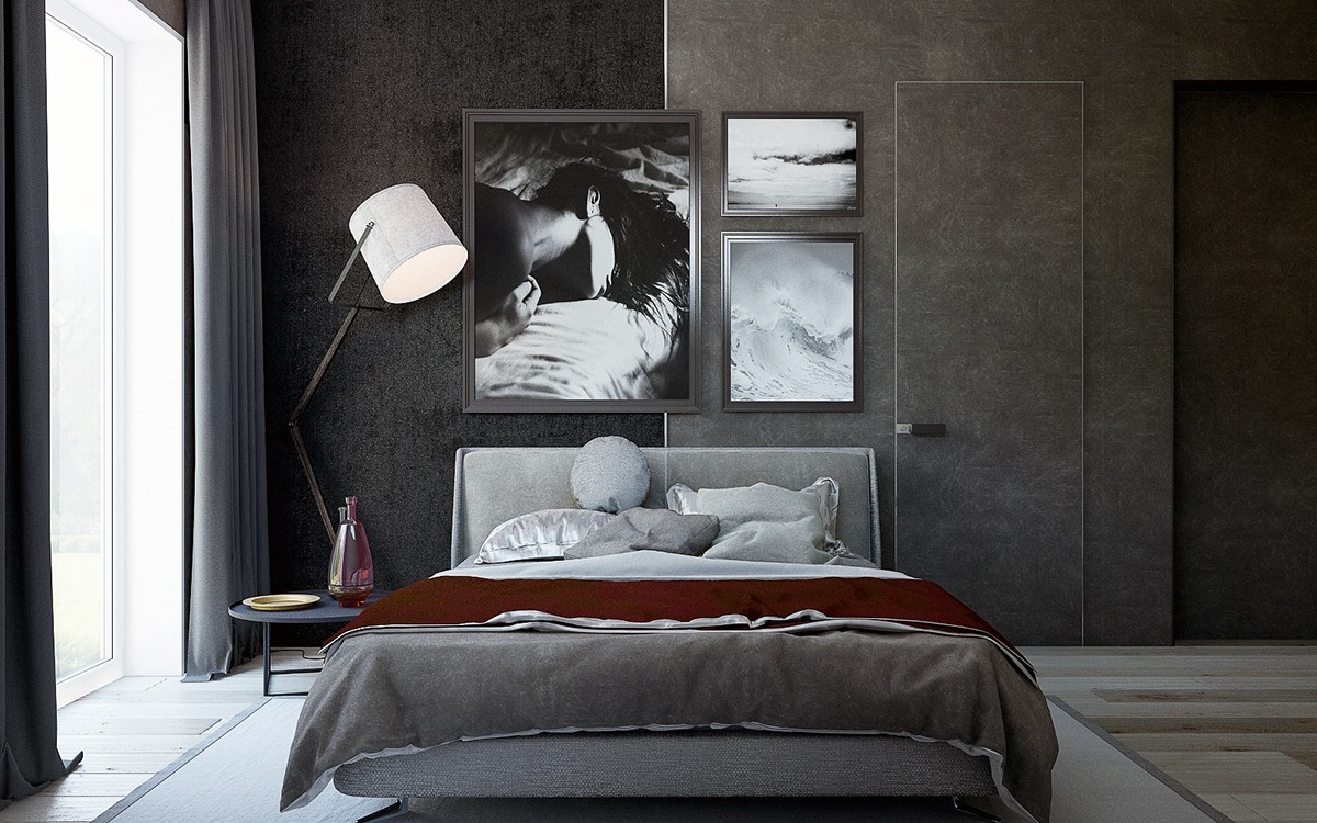 modern dark bedroom design